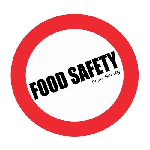 FOOD SAFETY black stamp text on white